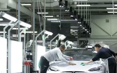 Tesla team inspects every car before it leaves the factory
